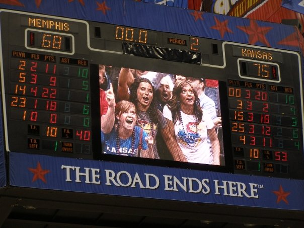 Abbey Weltner at F4 on the jumbotron