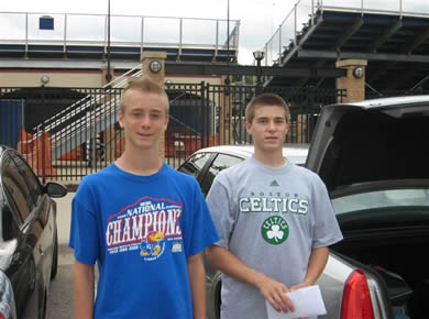 Brent and Kyle Owens in the Feildhouse PArking lot